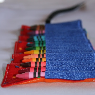Crayon Roll Tutorial: easy to sew tutorial for convenient crayon storage for your kids at the restaurant, church, or in the car!