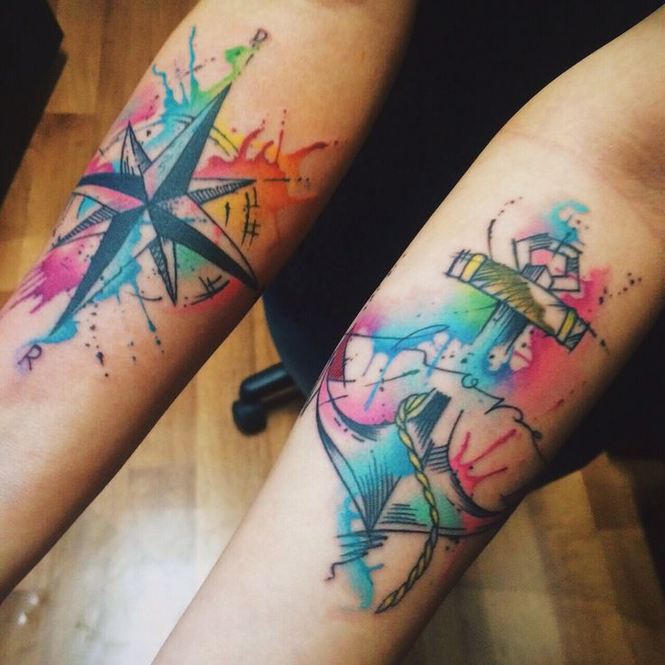 Tattoo anchor and compass by felipe bernardes compass for Tatoo bussola