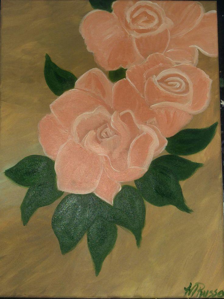 Peachy Rose by melacrylics on Etsy