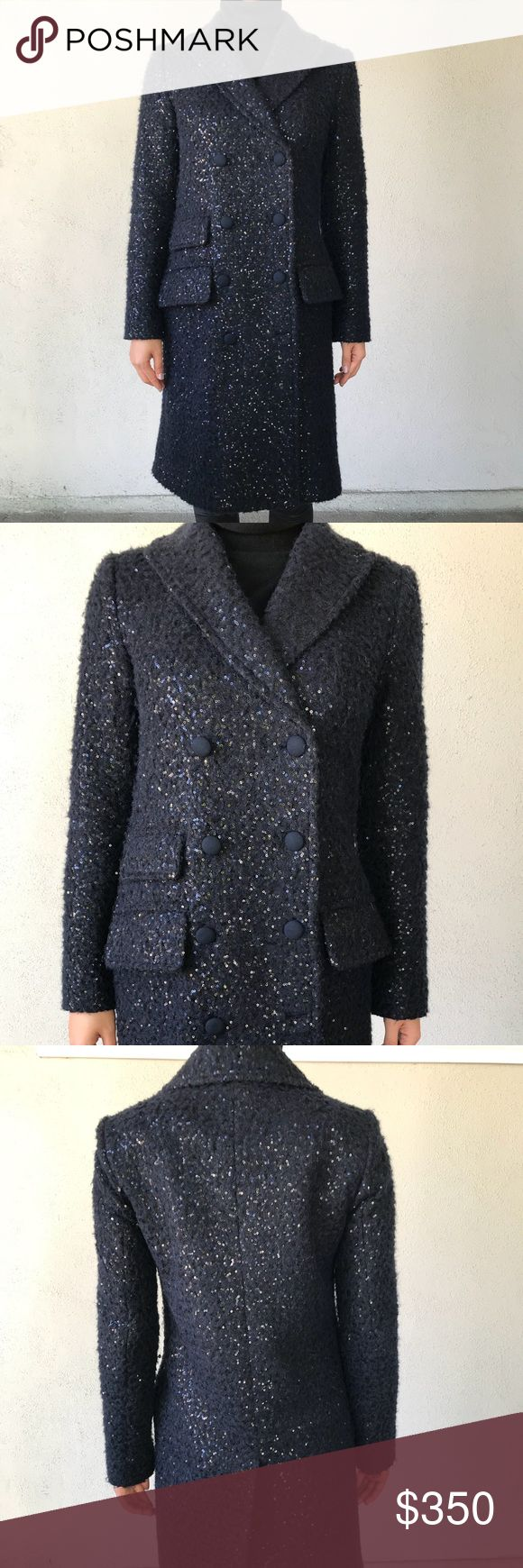 Diane Von Furstenberg Wool/Cashmere Sequin Coat Diane Von Furstenberg Wool/Cashmere Sequin Long Coat. Elegant navy color accented with sequin. Very light weight but super warm. Received so many compliments on this coat. Size 0. Diane Von Furstenberg Jackets & Coats