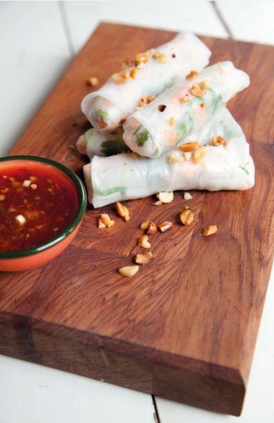 Mihoen/Groente Rijst Rolletjes met Garrnalen en Chili-Limoen Dipsaus