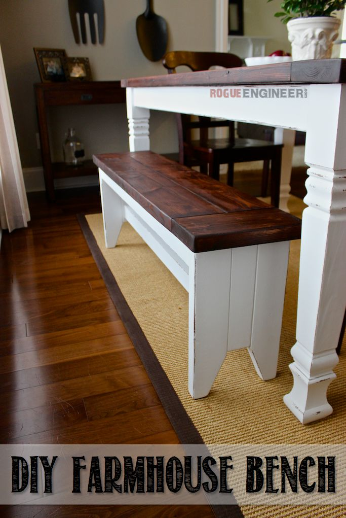 Learn How to Build a Farmhouse Bench // Free Plans at RogueEngineer.com