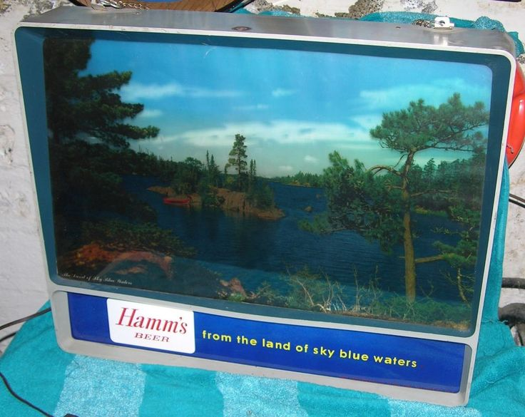 VINTAGE HAMMS BEER SIGN MOTION 1956 RIPPLE CANOE HAMM'S THEO HAMM LIGHTED SIGN