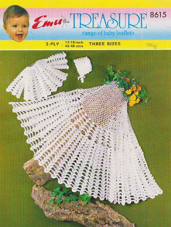 PDF Vintage Baby Christening Crochet Pattern Layette Blanket