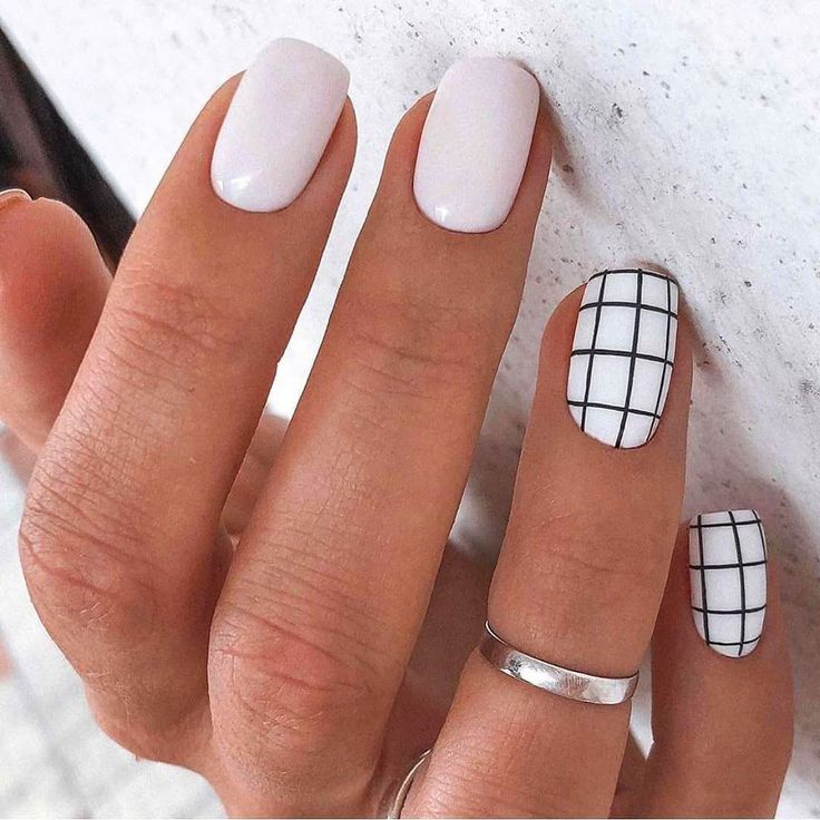 purple Acrylic short square nails design for summer nails, french manicures, sho...