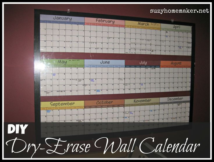 Blank Calendar Year At A Glance : Suzyhomemaker diy dry erase wall calendar fridge