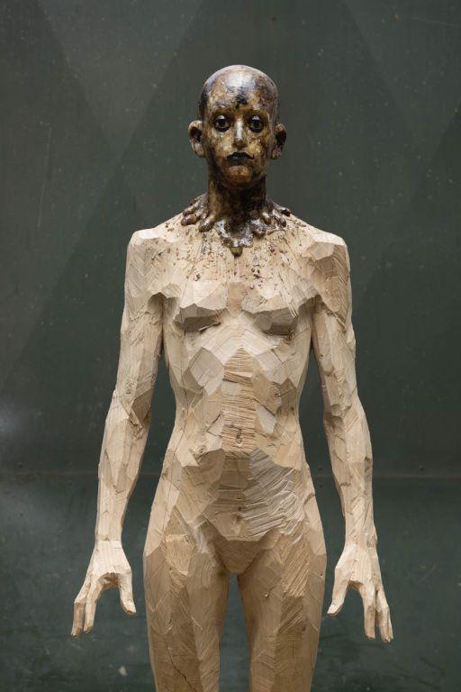 Aron Demetz sculptures, plastic arts, visual arts, fine arts