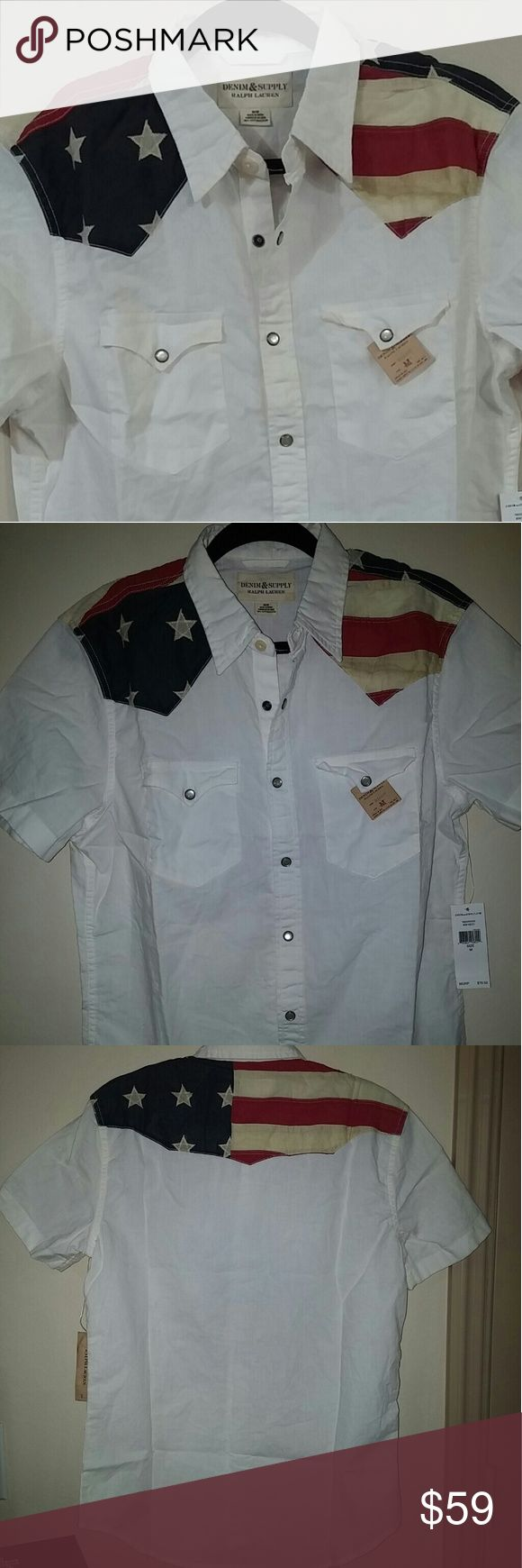 Denim & Supply RL American Flag Pearl Snap Shirt Denim & Supply Ralph Lauren Men's American Flag Pearl Snap Shirt  A cool take on Americana-inspired style, this cotton button down shirt features a tonal stars-and-stripes pattern.  100% cotton Denim & Supply Ralph Lauren Shirts Casual Button Down Shirts