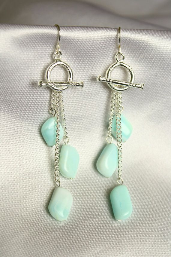 Toggle Dangle Earrings with Angelite Stone Beads by ConceptAna: Clever use of toggles!