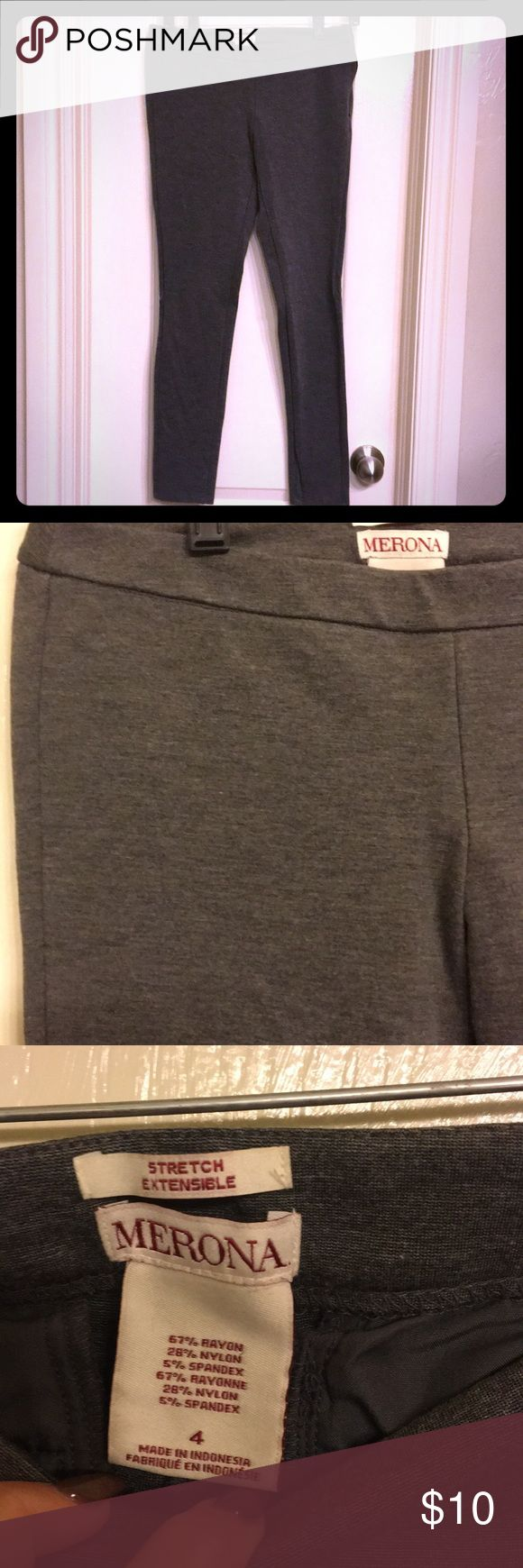 Merona skinny stretch dress pants Merona skinny stretch dress pants size 4! Gray and lightly worn Merona Pants Skinny