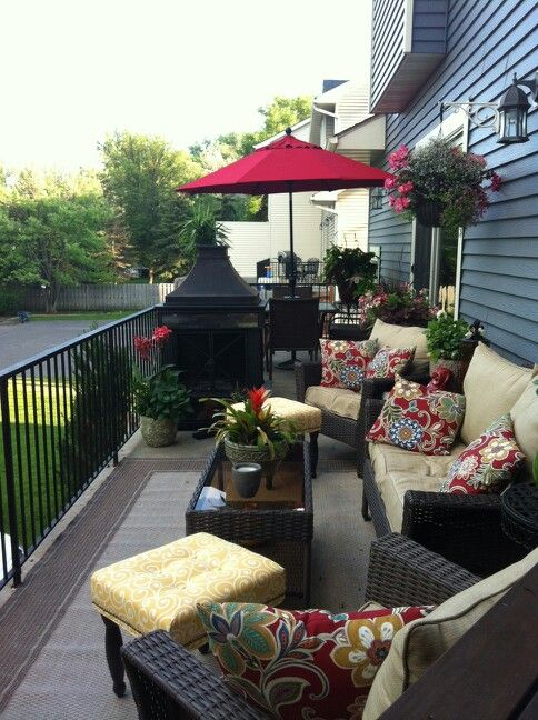 Long skinny townhouse deck Creating two spaces Summer deck ... on Small Back Deck Decorating Ideas id=62054