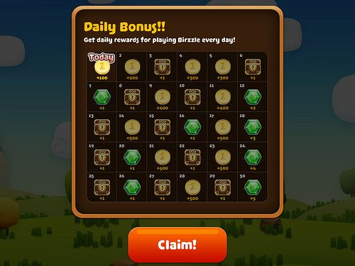 Birzzle Fever Daily Reward: screenshots, UI