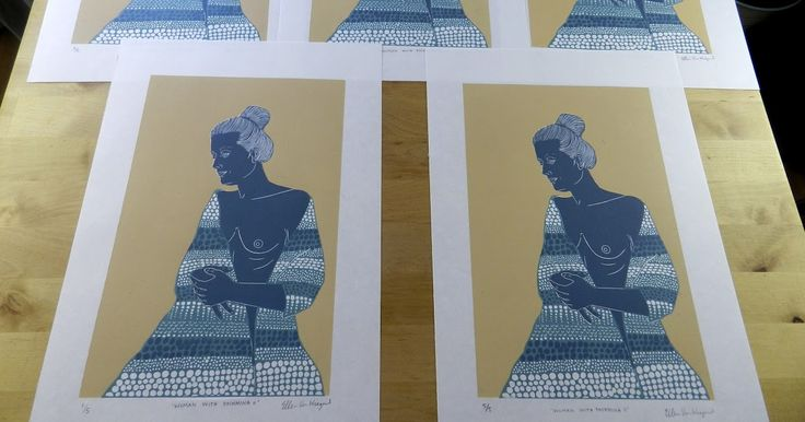 #woman with #parshmina #edition of 5 by Ellen VW #printmaking #linocut #linoprint #ink