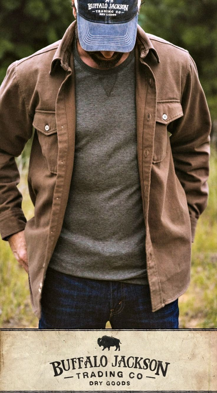 No rules on how to wear this men's shirt. Here, they opted to ditch the plaid and picked up wooden buttons instead. Pretty cool. For casual fall or spring style, outfit it with jeans and boots. These shirts make great gifts for guys   dads   men who have everything.