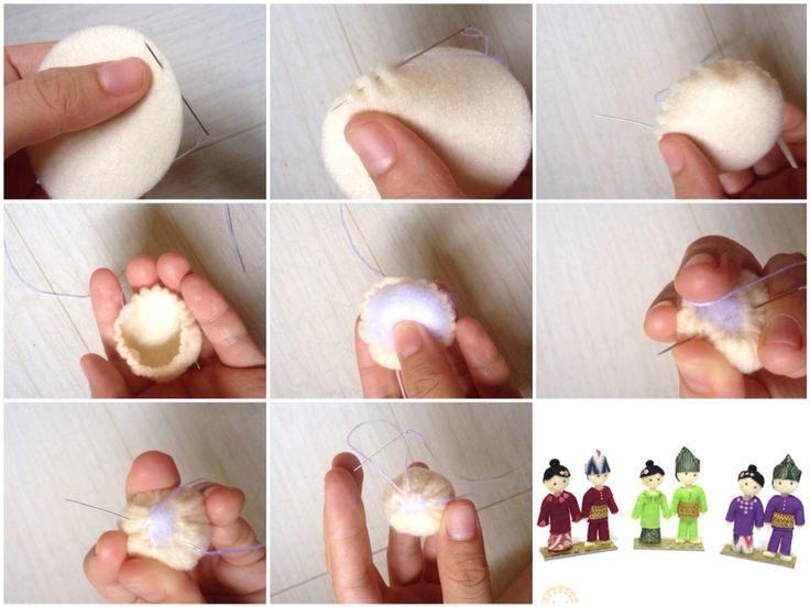 Tutorial felt doll head_doll making process_Riau traditional dolls