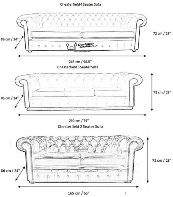 Measurements for our standard Chesterfield furniture pieces to help you decide if our standard sizes are right for your home. We also make bespoke furniture.