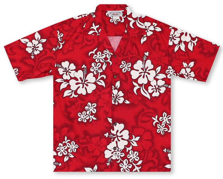 Pacific Legend Hawaiian Shirts From Aloha Shirt Shop | Pacific Legend Red Hibiscus | PL-01