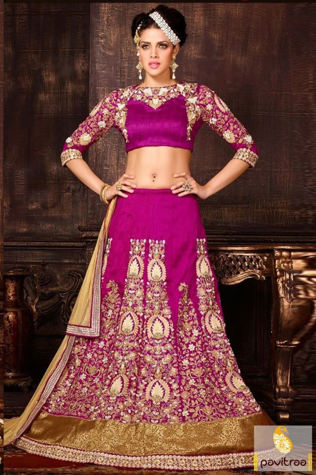 A wonderful looked magenta net silk heavy wedding bridal lehenga choli is speared with stone, lace patti and heavy embroidery. It is satisfying for sangeet.    #pavitraa, #lehengacholi, #Lehengasarees, #lehengas, #Designercholi, #designersarees, #onlinesharee, #onlineshopping, #lehengastyle, #lehengastyleSaree, #navratricholi  http://www.pavitraa.in/store/lehengha-choli/
