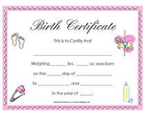 girls baby birth certificates