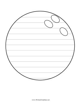 A bowling bowl decorates this printable writing template that also serves as a coloring page.