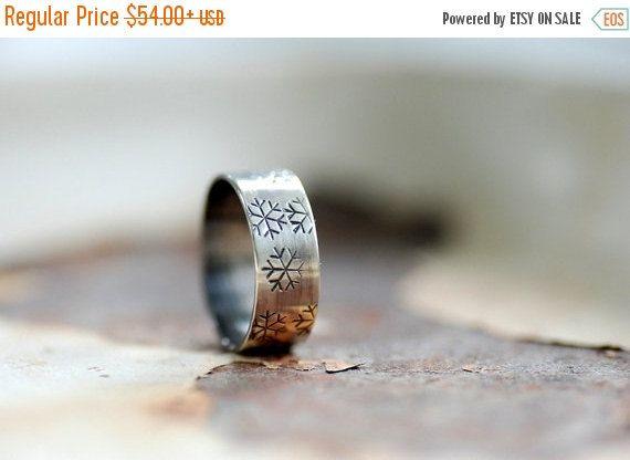 Snowflake Ring Stamped Silver Ring Metalwork by WildWomanJewelry