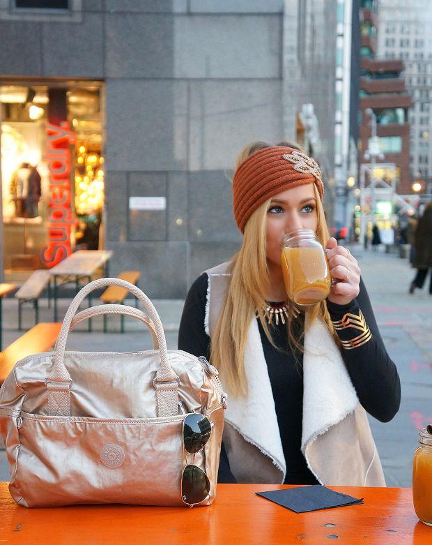 Apple Cider and Kipling Handbag | Minnie in Manhattan