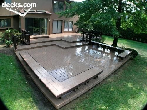 deck - this would be awesome in my back yard...  I've wanted to do a multi level deck and get rid of some grass to mow...