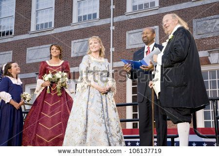 Philadelphia Mayor Michael Nutter marrying Ben Franklin and Betsy Ross on July 3, 2008 in front of Independence Hall, Philadelphia, Pennsylvania
