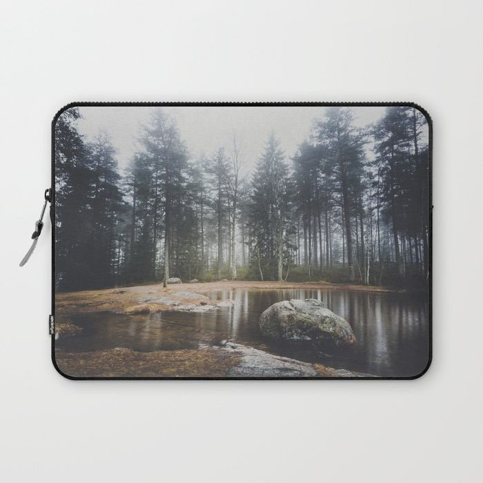Moody mornings Laptop Sleeve by HappyMelvin. #nature #wanderlust #landscape #forest #laptopsleeves