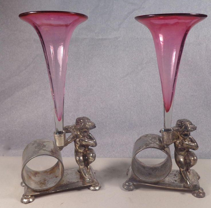 Cranberry glass vases with meriden napkin holder