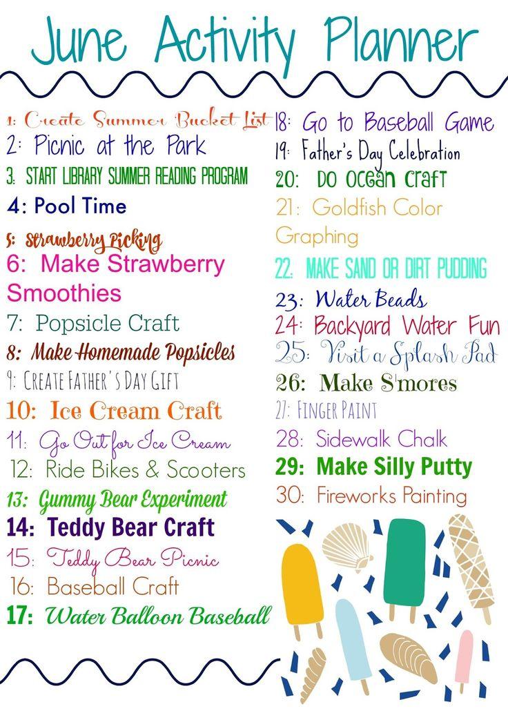 June activity planner