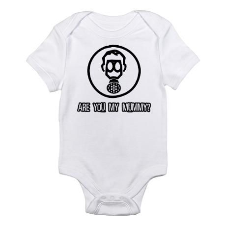 Doctor Who Baby Onesie   Are You My Mummy? I just watched this episode last night, terrifying!!!! Freaky kids.