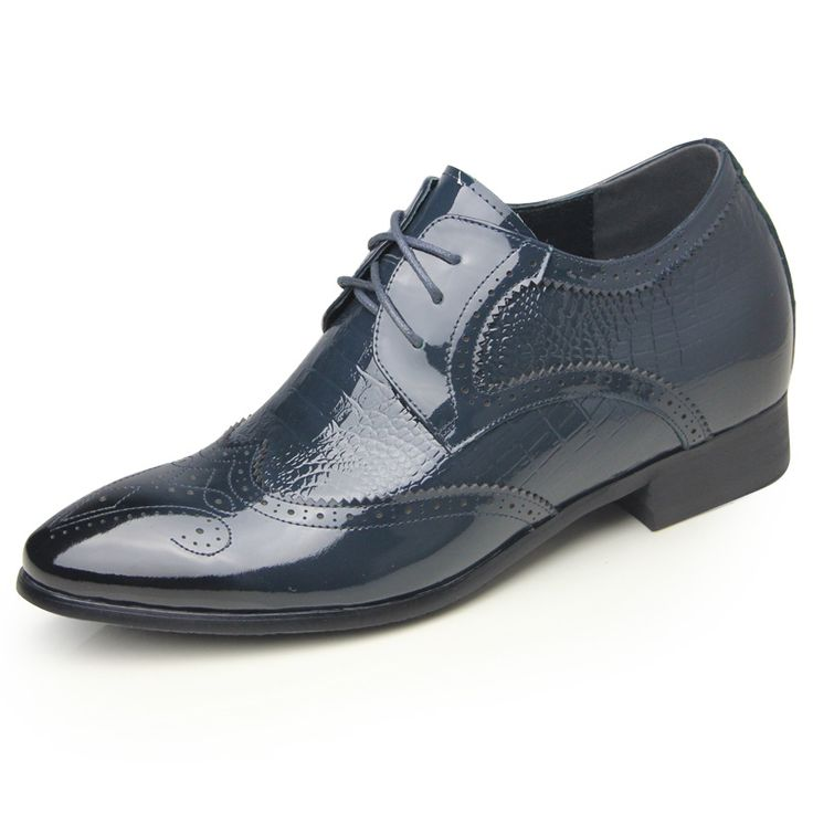 Blue crocodile grain brogue tall dress shoes 6.5cm / 2.56inch shiny wing tip wedding shoes