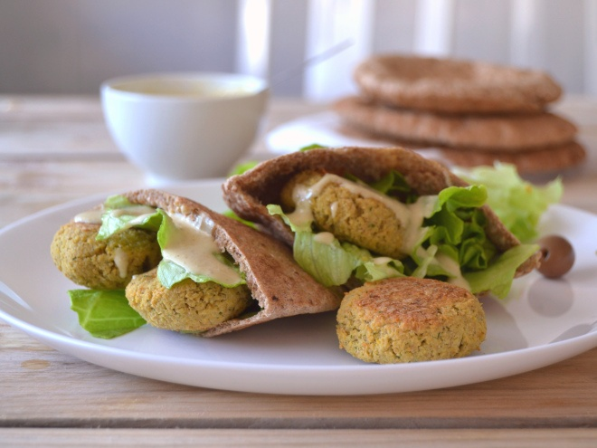 Falafel in pita bread with tahini sauce