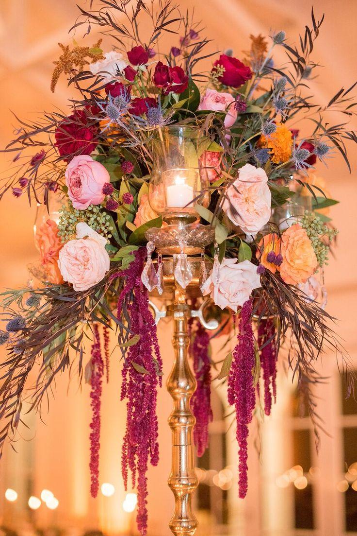 Autumn Colored Wedding in North Carolina- floral centerpiece