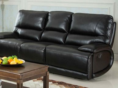 aurora black leather reclining sofa