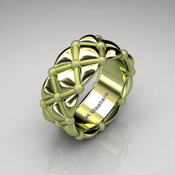modern italian 18k green gold quilted infinity designer wedding band r532f 18kggsl wedding green and italian