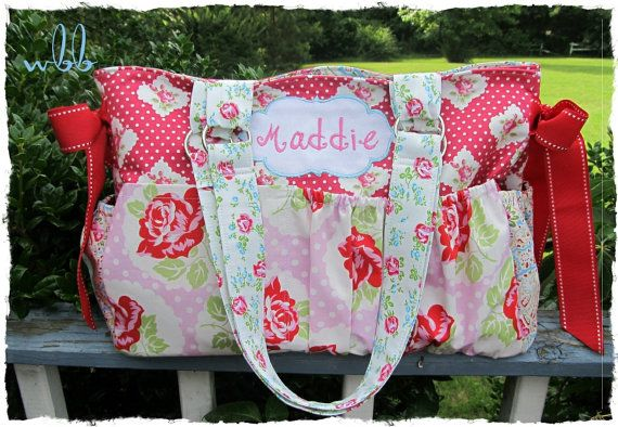 Custom Diaper Bag XL Deluxe Handmade Boutique Shabby Chic Roses 10 Pockets Baby Girl Victorian Nappy Pink Red Floral Flowers Blue