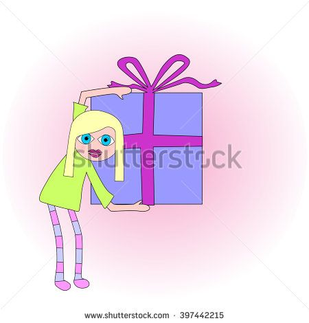Spectacular bright blue-eyed blonde woman holding a big present or gift. She is about to give it to someone.