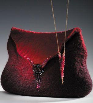 Filz-Handtasche: Merino-Wolle & Seide,Silber Elemente und Kristallen ANAT Gelbard