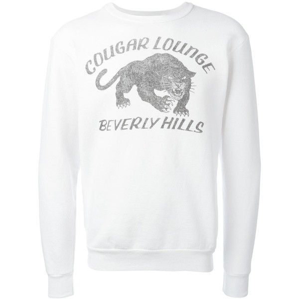 Local Authority Cougar Lounge sweatshirt (€225) ❤ liked on Polyvore featuring tops, hoodies, sweatshirts, white, white top, unisex tops and white sweatshirt