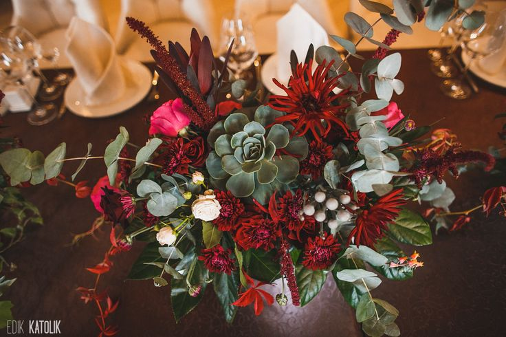 burgundy wedding centerpiece