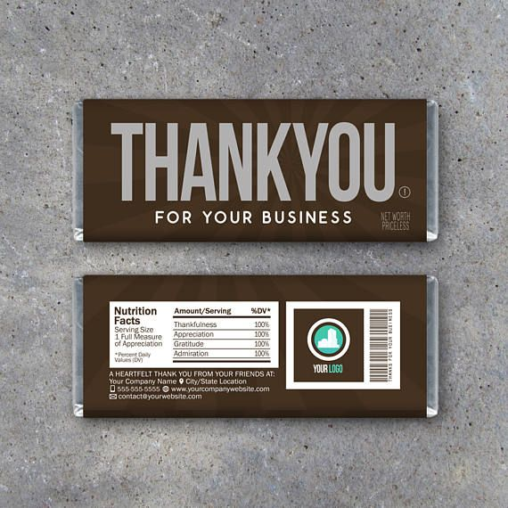 THANK YOU For Your Business Candy Bar Wrapper  Printable