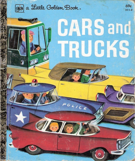 CARS And TRUCKS Vintage Little Golden Book Llustrations By