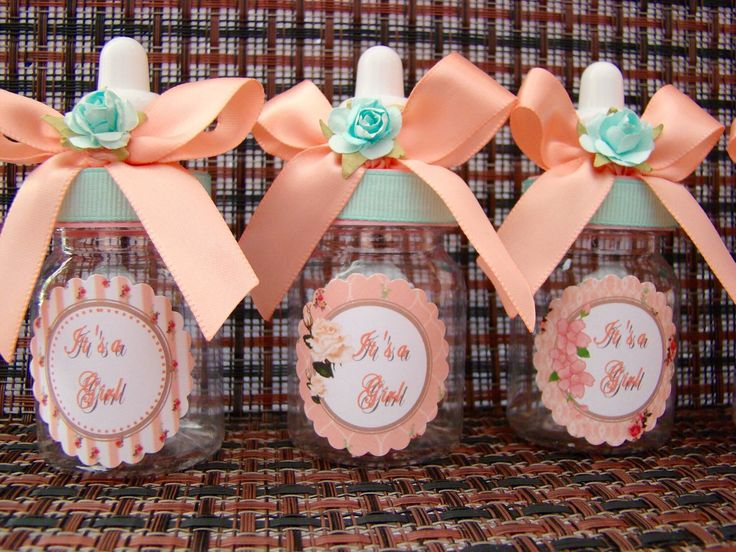 12 Shabby chic baby bottles- mint and coral baby shower- gold and floral shabby chic favors- teal and coral baby shower by Marshmallowfavors on Etsy https://www.etsy.com/listing/227761744/12-shabby-chic-baby-bottles-mint-and