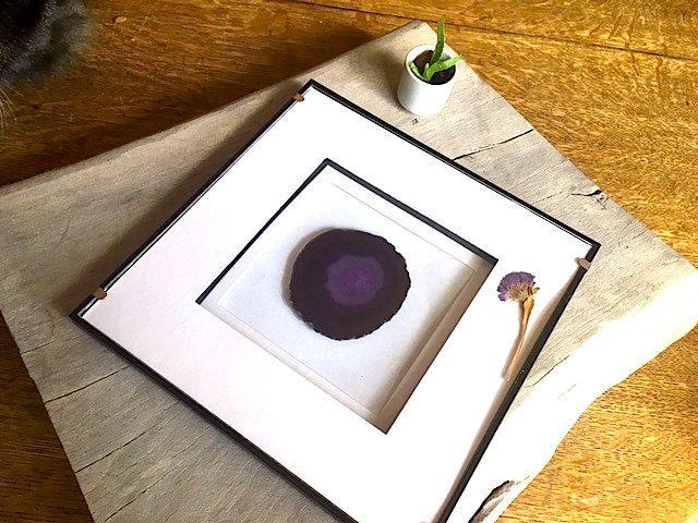 Framed Agate Slice, Purple Geode, Geode Decor, Home Decor, Wall Art, Crystal…