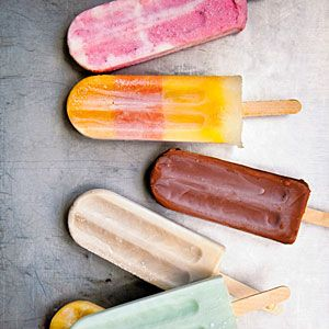 Salted watermelon, strawberry goat cheese, and mango honey cream popsicles