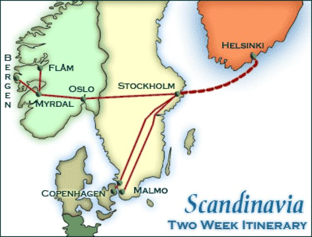 Map of Scandinavia showing the itinerary route