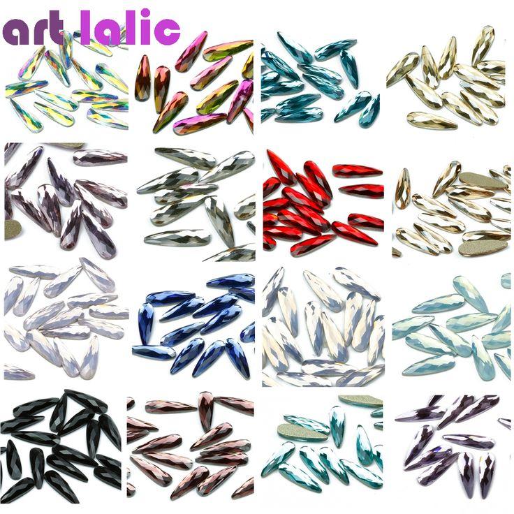 Artlalic 20Pcs/Bag 3D Nail Art Rhinestones Accessories Elongated Teardrop Glass Flame Colorful Stones for Nails Decoration #Affiliate