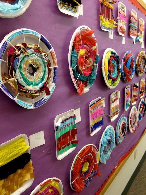 "Weavings on plates & polystyrene trays ("",)"
